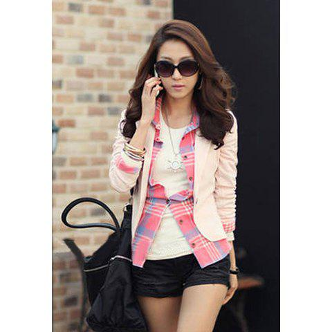 Slimming Turn-Down Collar Single-Breasted Long Sleeves Suiting+Cotton Women's Blazer - PINK L