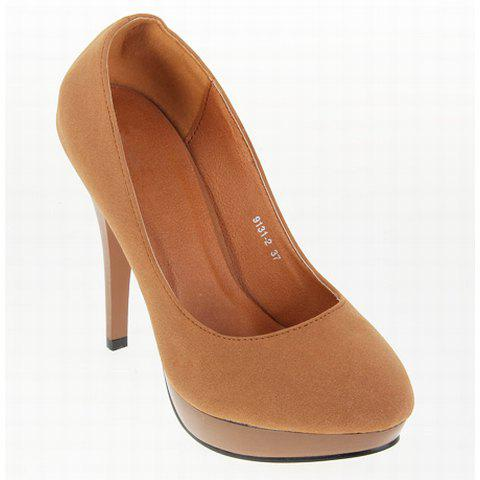 Party Solid Color Design Women's Pumps - BROWN 36