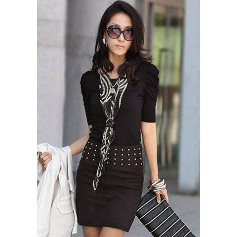 Elegant Style Scoop Neck Pure Color Three-Quarter Puff Sleeves Polyester  Women's Blouse - BLACK S