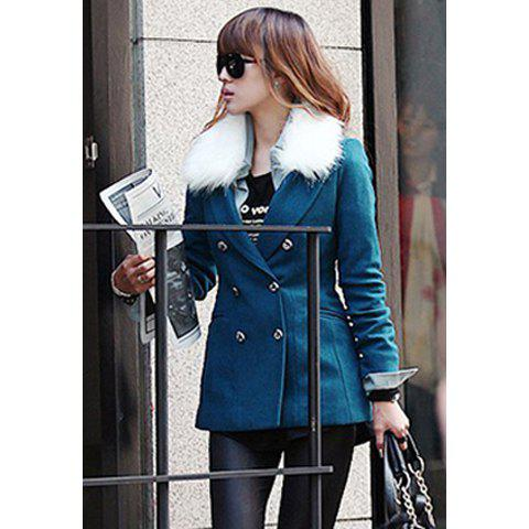 Casual Imitated Fur Collar Double Breasted and Pocket Design Women's Worsted Coat - M BLUE