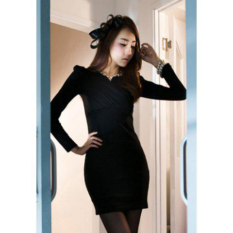 Elegant V-Neckline Puff Sleeve Ruffled and Bodycon Design Women's Cotton Blended Dress - BLACK ONE SIZE