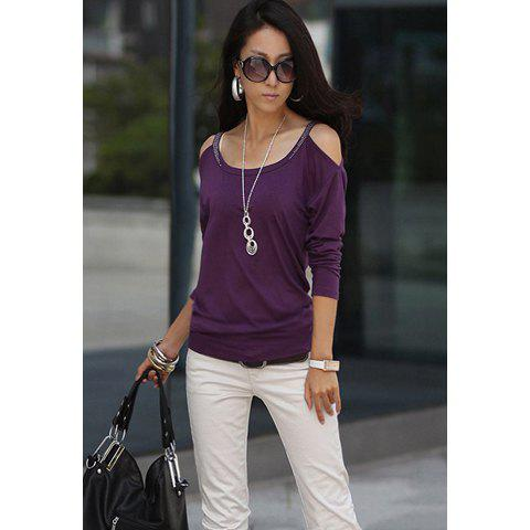 Scoop Neckline Solid Color Simple Slimming Style Off-the-Shoulder Long sleeve Cotton Women's T-Shirt - PURPLE ONE SIZE