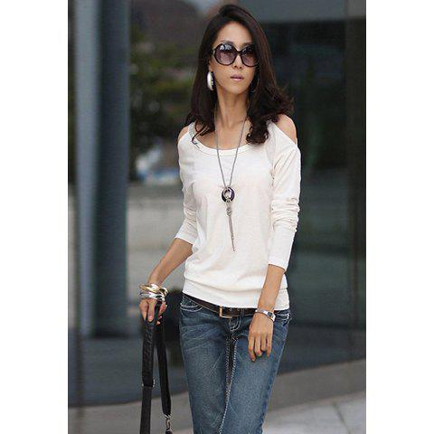 Scoop Neckline Solid Color Simple Slimming Style Off-the-Shoulder Long sleeve Cotton Women's T-Shirt - WHITE ONE SIZE