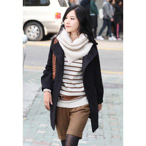 Stand Collar Elegant Korean Style Long Patterns Solid Color Pockets Button Embellished Long Sleeve Imitated Cashmere Women's Coat - BLACK L