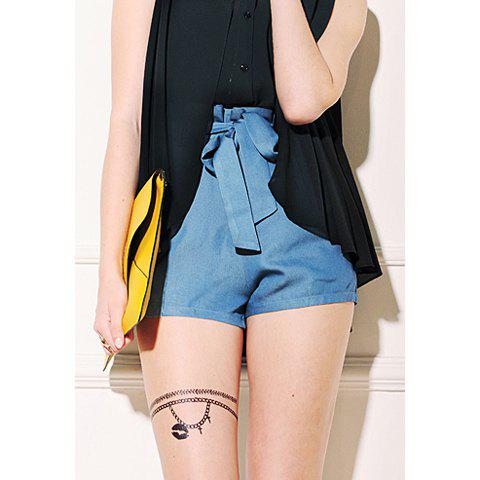 Vintage Style High Waistline and Bowknot Embellished Design Women's Jean Pants - BLUE S