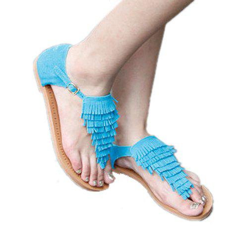 Layered Fringes and Thongs Design Women's Flat Sandals - SKY BLUE 37