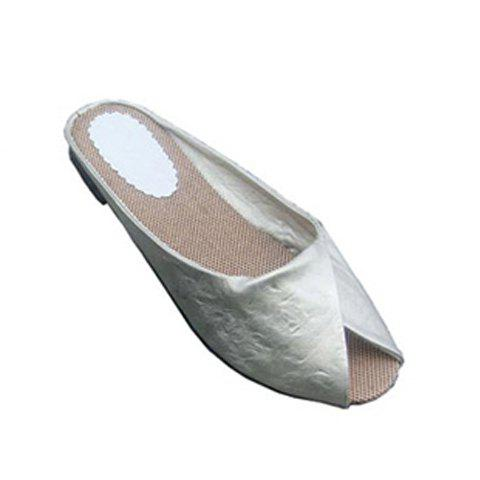 Solid Color and Peep Toe Design Women's Flat Slippers - GRAY 36