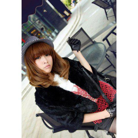 Fashion Solid Color 1/2 Sleeves Design Women's Artificial Wool Jacket - BLACK ONE SIZE