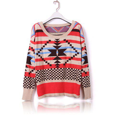 Casual Scoop Neck Thicken Stripe Long Sleeve Women's Sweater - RED ONE SIZE
