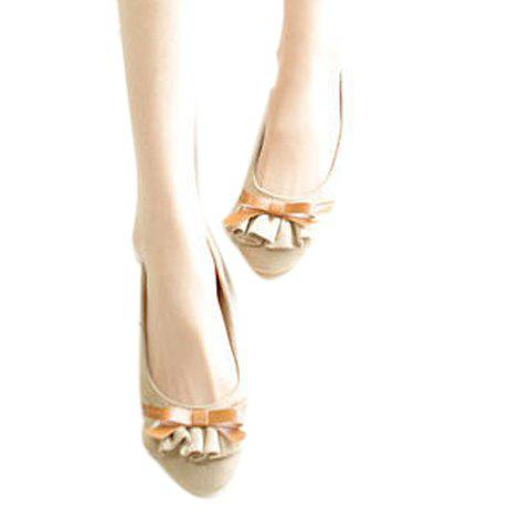 Bowknot and Ruffles Design Women's Flat Shoes - APRICOT 36