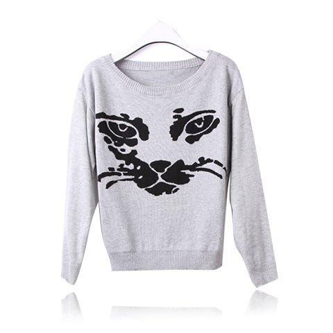 Casual Loose Fitting Cat Print Scoop Neck Long Sleeve Women's Sweater - GRAY ONE SIZE
