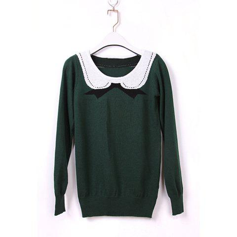 Lapel Casual Loose-Fitting Preppy Style Sweet Cute Solid Color Long Sleeve Knitting Women's Sweater - ONE SIZE GREEN