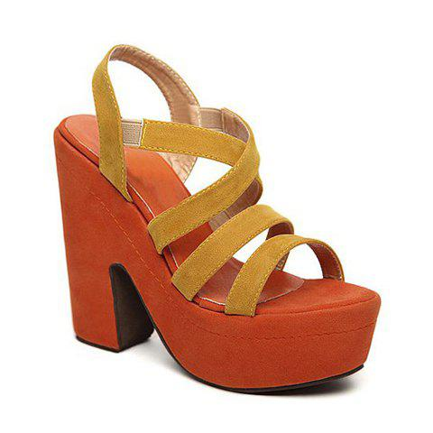 Straps and Buckle Design Women's Sandals - YELLOW 36