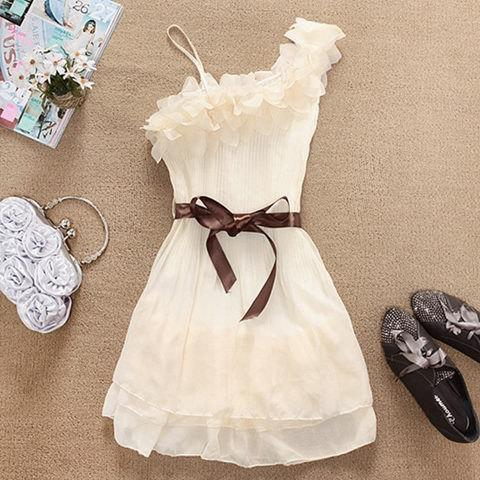 Sweety Solid Color Ruffles One-Shoulder Women's Chiffon Dress - APRICOT ONE SIZE