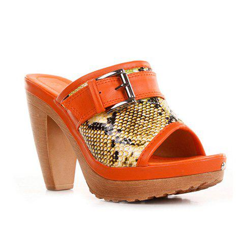 Peep Toe and Snake Print Design Women's Slippers - ORANGE 35