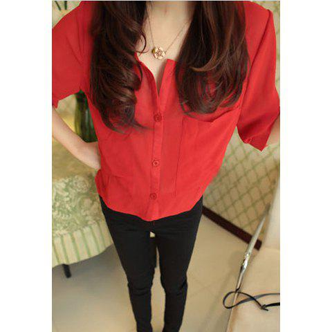 Simple Scoop Neck Half Sleeves Single-Button Women's Chiffon Blouse - RED ONE SIZE