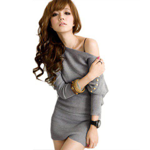 One-Shoulder Button Embellished Pure Color Long Sleeve Woolen Yarn Women's Long Sweater - LIGHT GRAY ONE SIZE