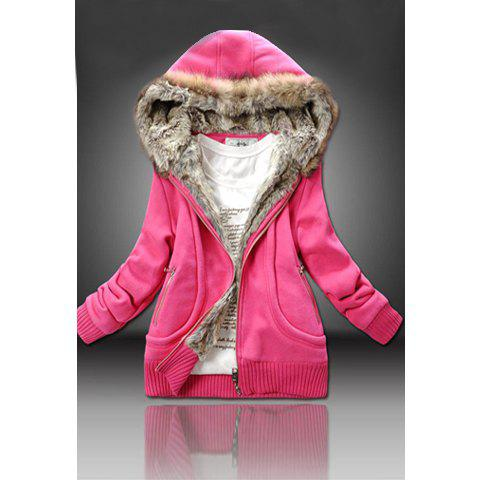 Casual Artificial Wool Embellished Hooded Zipper and Pocket Design Women's Cotton Coat - RED ONE SIZE