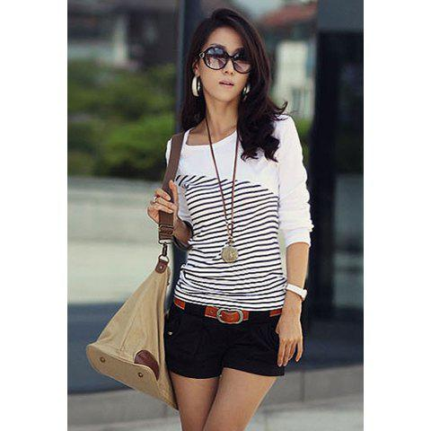 New Arrival Slimming Scoop Neck Stripes Long Sleeves Navy Style Cotton Blend Women's T-Shirt - WHITE M