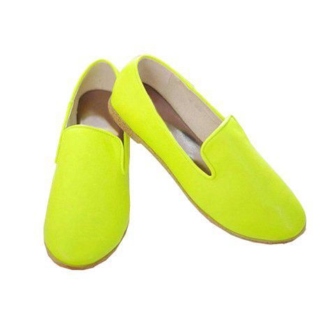 Fashionable Casual Sweet Simple Style Candy Color Solid Color Women's Flat Heel Shoes - GREEN 35