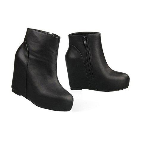 Stylish Casual Simple Style Solid Color Invisible Heel Women's Boots - BLACK 39