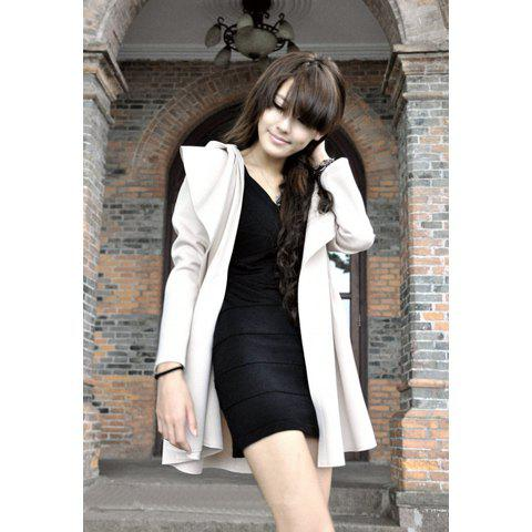 Fashion Long Patten With Belt Design Windbreaker For Female - APRICOT ONE SIZE