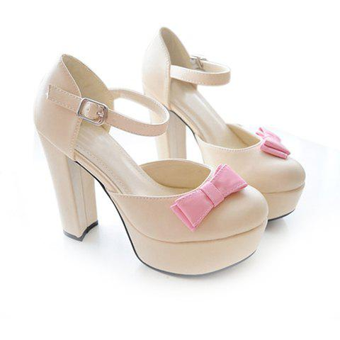 Bowknot and Buckle Design Women's Pumps - APRICOT 39