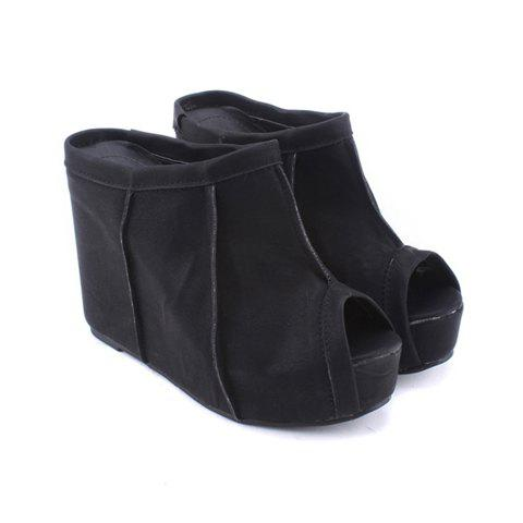Stylish Casual Comfortable Style Solid Color Splicing Fish-Mouth Head Wedge Heel Women's Slippers - BLACK 35
