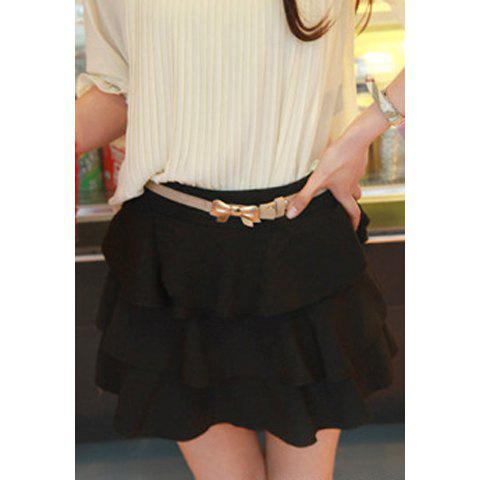 Mix Match Solid Color and Layered Flounce Embellished Design Women's Cotton Blended Skirt - BLACK M