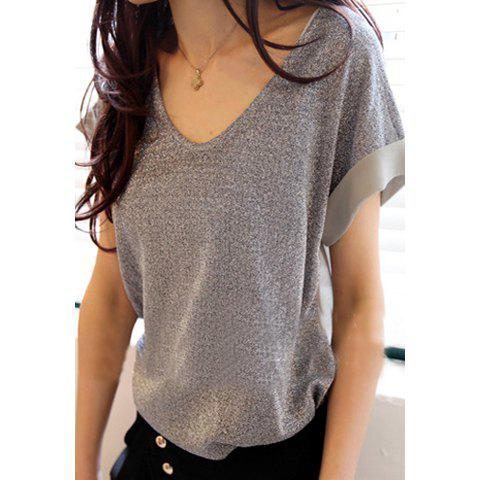 Fashion Glitter Chiffon Splicing Design Women's V-Neck T-Shirt - SILVER ONE SIZE