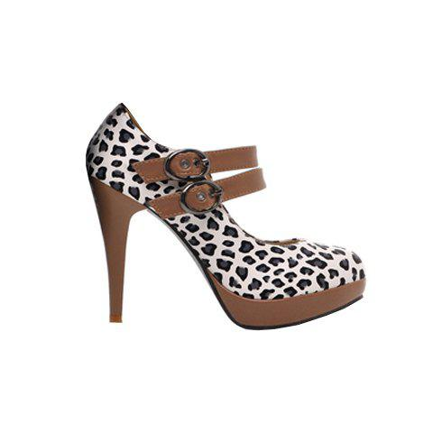 Elegant Stylish Style and Leopard Patterns  Belts Buckles Stiletto Heel Women's Pumps - WHITE 37