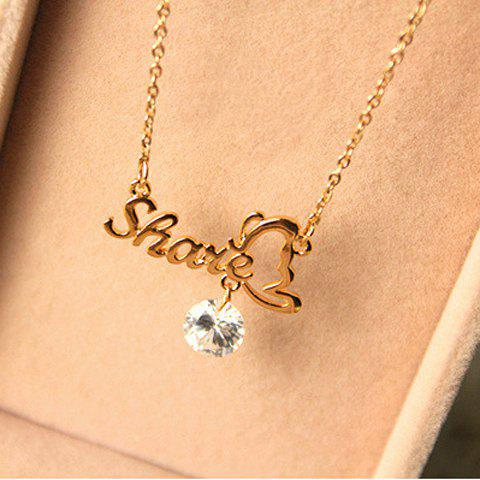 Elegant Smile Word Shape Bowknot Shape Rhinestone Embellished Pendant Collarbone Alloy  Women's Necklace - WHITE
