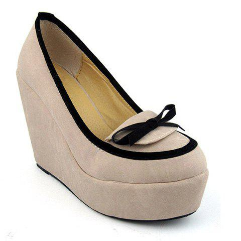 Bowknot and Round Head Design Women's Wedge Shoes - 36 PINK