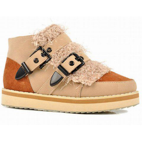 Buckle and Artificial Wool Design Womens Platform Boots - BROWN 39