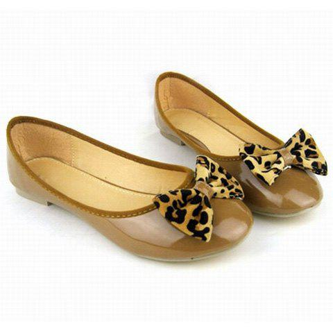 Bowknot and Leopard Print Design Women's Flat Shoes - BROWN 37