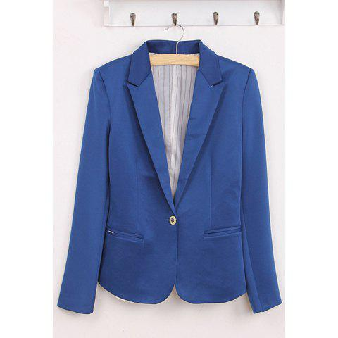 Elegant V-Neck Single Button Long Sleeves Multicolor Cotton Blend Women's Blazer - BLUE XS