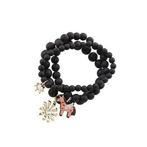 Sweet Style Horse and Flower Shape Pendant Three-Piece Pearl Bracelets - BLACK