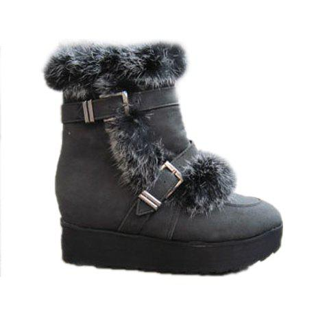 Buckle and Artificial Wool Design Women's Short Boots - BLACK 35