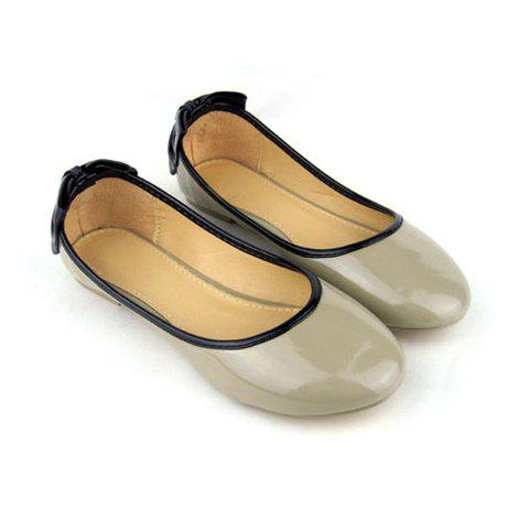 Round Head and Bowknot Design Women's Flat Shoes - APRICOT 35