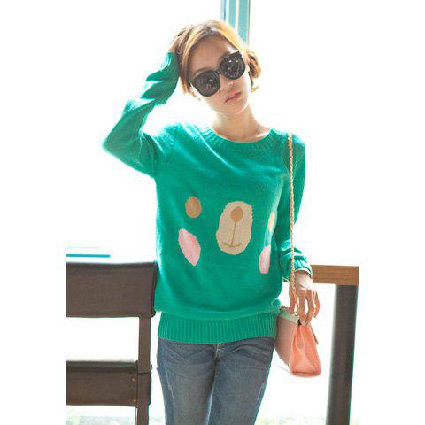 Sweet Style Cute Rilakkuma Smiling Faces Scoop Neck Sweater For Women - GREEN ONE SIZE