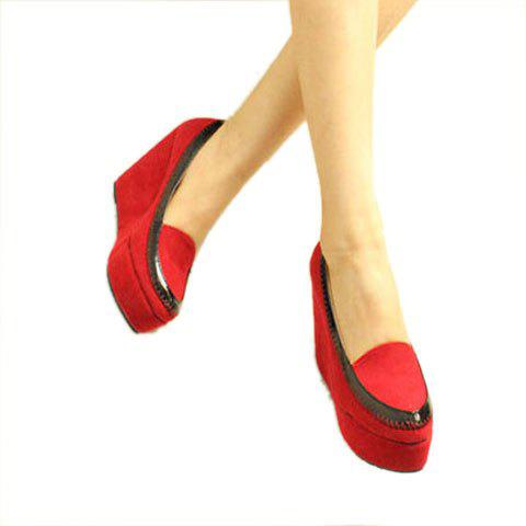 Round Head Design Women's Wedge Shoes - RED 38