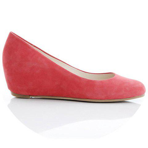 Solid Color and Round Head Design Women's Wedge Shoes - RED 35