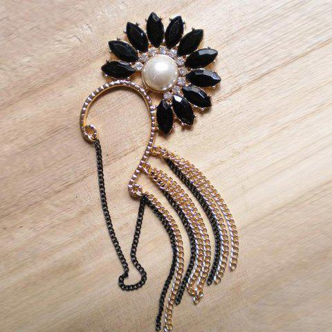 Stunning Style Flower Shape Rhinestone Embellished Faux Pearl Inlaid Alloy Chains Women's Earrings For - AS THE PICTURE
