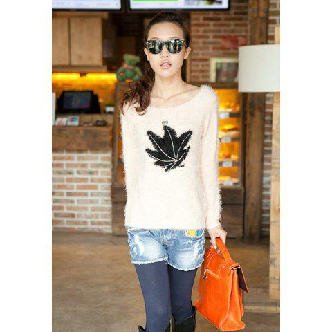 Stylish Slimming Fit Scoop Neck Maple Leaf Print Long Sleeve Women's Sweater
