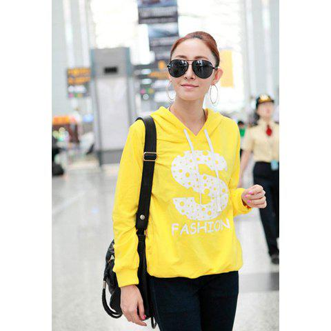 Fall Casual Style S-Letter Print Long Sleeve Sweater For Women - YELLOW ONE SIZE