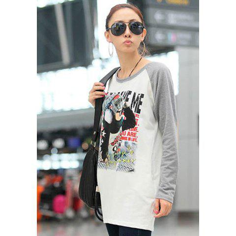 Fall Casual Style Lovely Baby Print Long Sleeve Sweater For Women - LIGHT GRAY ONE SIZE