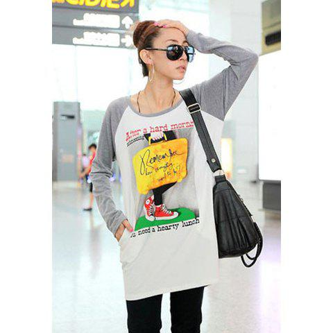 Fall Casual Style Traveller Print Long Sleeve Sweater For Women - LIGHT GRAY ONE SIZE