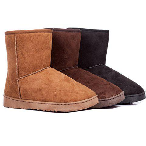 Solid Color and Round Head Design Women's Platform Boots - COFFEE 36