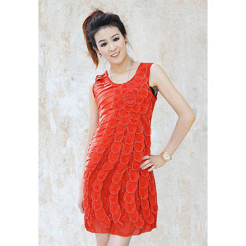 Gorgeous Slimming Style Stereo Flowers and Rhinestone Embellished Draped Sleeveless Voile Women's Dress - RED ONE SIZE