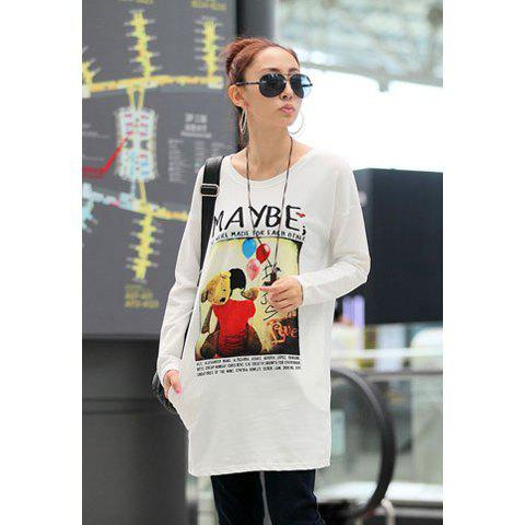 Fall Casual Style Girl Balloon Print Long Sleeve Sweater For Women - WHITE ONE SIZE